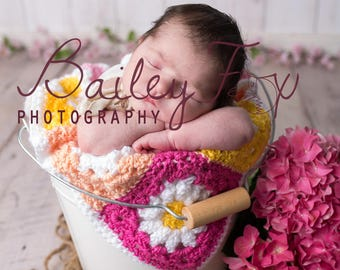 Digital drop newborn backdrop, light wood with white bucket and real pink hydrangeas