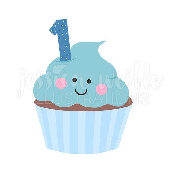 Blue Boys First Birthday Cupcake Cute Digital Clipart Cupcake