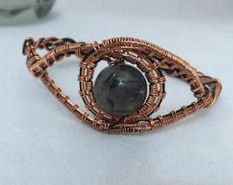 Rutile quartz bracelet: wirework bracelet; copper bracelet; festival jewellery; summer holiday jewellery; steampunk jewellery