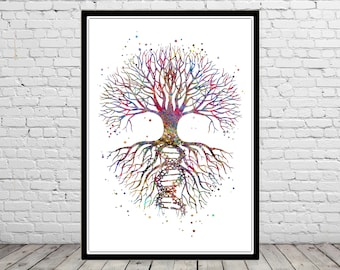 Tree of life with the roots of DNA, watercolor Tree of life, DNA molecule, DNA print, Tree Of Life, Nature Art, Meditation Art (2488,502b)