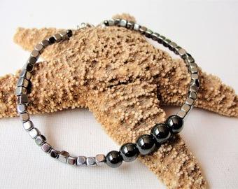 Mans Bracelet,Hemitite Jewelry,STERLING SILVER Bracelet,Mens Jewelry,Beaded Bracelet,Masculine Bracelet,Gift for Him,Birthday Gift For Men