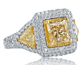 3.62 Ct Princess Cut Diamond Ring w/ Trillion Cut Side Diamonds, Yellow Diamond Engagement Ring, Double Halo Diamond Ring, 18k White Gold