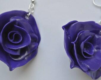 Pink violet flowers shape earrings