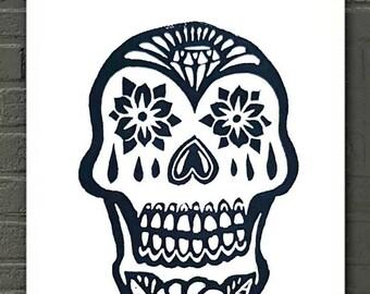 Calavera Sugar Skull Decor Day of the Dead Art, Dia de los Muertos Decor Esqueleto Skull Wall Art, Mexican Skull Print Day of the Dead Art