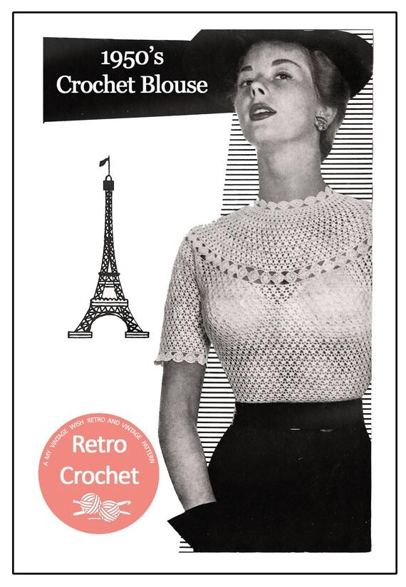 Crochet Blouse 1950s Vintage Pattern PDF Crochet Pattern