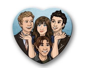 "Gilmore Girls Rory Gilmore Dean Logan Jess heart shaped 2"" pinback button"