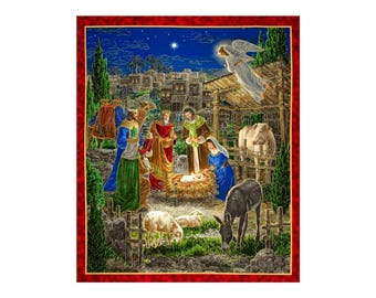 """36"""" Fabric Panel - Quilting Treasures Holy Gathering Manger Nativity Wallhanging"""