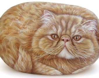 Custom Pet Portraits Hand Painted on a Sea Stone | Pet Portraits on Commission in Memory of your Beloved Pet Handmade by Roberto Rizzo