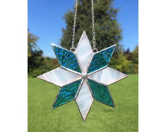 Stained Glass Textured Blue and White Star Suncatcher Decoration