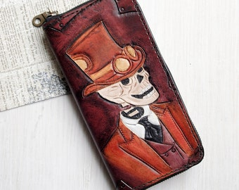 Travel wallet - Skull zipper woman wallet - Steampunk clutch witn credit card holder - Leather Checkbook Wallet - Pouch Holds Cards