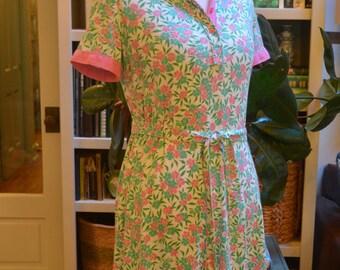 Vintage 1960s The Lilly Pulitzer cotton cotton shirt dress collar S / M small medium