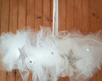 Vintage- Floral Chandelier- Tulle-shabby-mobile-roses-baby cot chandelier-girls room-wedding chandelier-flowers-stars- gift-