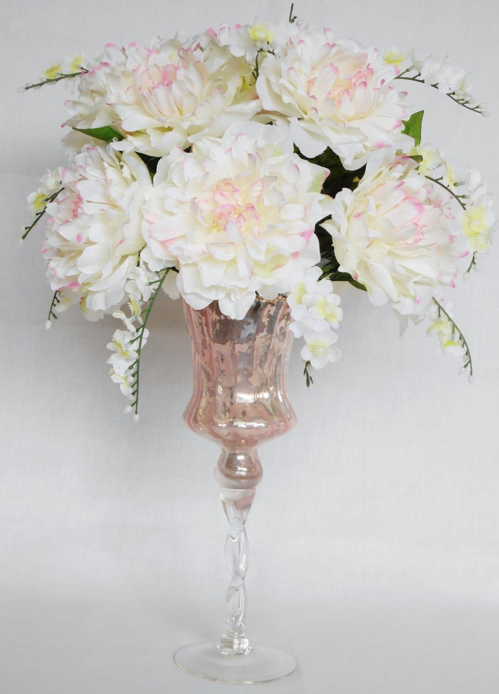 Silk flower arrangement white with pink peonies