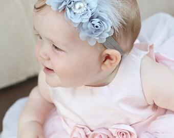Grey headband, Baby headbands, Flower headband, Pearl headband, Prom headband, Easter Headband ,baby girl headband.