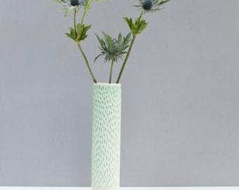 Contemporary vase, bud vase, porcelain vase, green vase, flower vase, Mother's Day, handmade, wedding, birthday, patterned vase