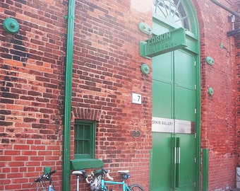 Toronto Corkin Gallery - Wall Decor - Fine Art Photography Print - Red, Brick, Rustic, Bicycles, Green Door, Historic, Distillery District