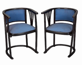 Pair of Josef Hoffmann Armchairs with Blue Upholstery [4177]