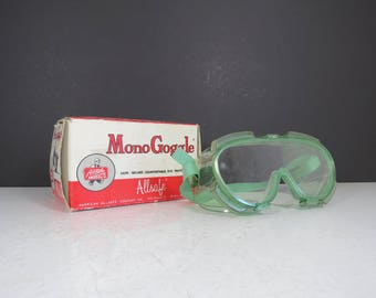 Vintage Lab Goggles with Box // Retro Science Chemistry Lab Equipment Tools Mono Goggle Allsafe Products NOS Original Packaging Shelf Decor