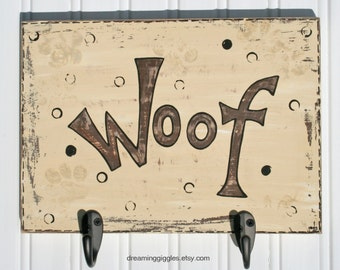 Distressed Dog Leash Hanger Hand Painted WOOF