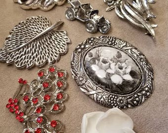 BROOCH LOT, Monet, Gerry's, Assorted Patterns, Designer, ALL Wearable, Silver Tone, Vintage, Shell, Rhinestone, Butterfly, Floral, Cameo