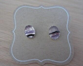 Purple Fluorite & Sterling Silver oval stud earrings, gemstone earrings, fluorite jewelry, gift for her, stud earrings