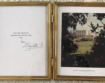 Queen Elizabeth Queen Mother Signed Christmas Card Framed 1978