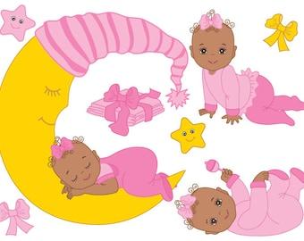 African American Baby Girl Clipart - Digital Vector Baby Girl, Baby Shower Clip Art