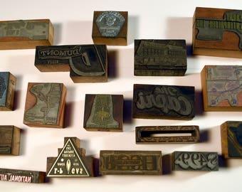 Vintage Letterpress Printing Blocks Bulk Lot 15 pieces