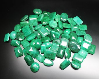 500ct 65pcs Green Emerald AAA Natural Brazil Faceted Gemstone Mix Ring Size Lot - Jewelry Making