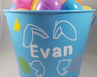 Personalized Easter Basket, Large Easter Bucket, Easter Pail, Personalized Bucket, Easter Egg Hunt, Name Easter Bucket, Easter Bunny