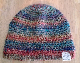 Multicolored Crocheted Children's Large Winter Beanie
