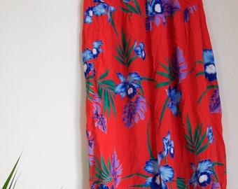 Vintage Red Hawaiian Floral Midi Skirt
