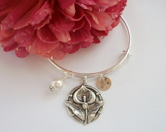 Calia Lily Personalized Initial Adjustable Bangle Bracelet - Swarovski Pearl Or Crystal Birthstone - Bridal Party Gift
