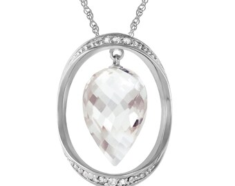 14K. solid gold necklace  with DIAMONDS & BRIOLETTE POINTY drop white topaz yellow gold white gold rose gold