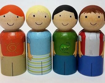 Printable Boy Clothes For Peg Dolls, Four Styles, DIY Peg Dolls, PDF Download Peg Doll Clothes