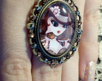 Steam T adjustable ring, cameo with Swarovski crystals