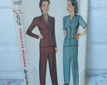 Rescued Vintage Simplicity Pattern 4407 Women's Slack Suit Size 38