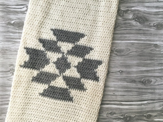 Aztec tribal crochet blanket throw baby home knit decor serape like this item dt1010fo