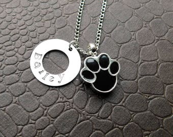 Paw Print Urn Necklace & Funnel - Pet Memorial Keepsake - Personalized with Name - Sympathy Gift