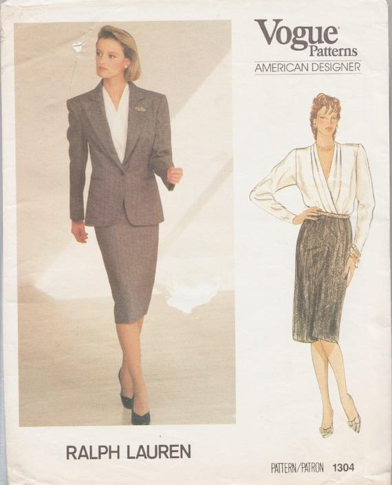 Vogue 1304 / Vintage Designer Sewing Pattern by Ralph Lauren /