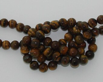 3 10mm Brown Tiger eye gemstone beads