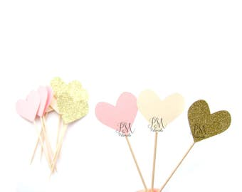 Mixed Heart Cupcake Toppers - wedding cupcake toppers, engagement food picks, birthday, baby shower toppers. heart cupcakes