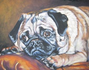 "PUG dog ART portrait canvas PRINT of LAShepard painting 12x16"""