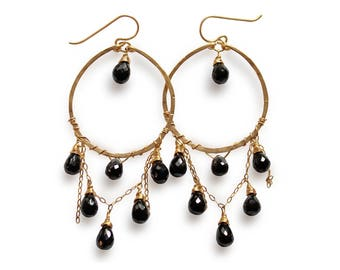 Black Spinel Cascade Hoops - Black Spinel and 14K Gold Filled Gemstone Chandelier Earrings - Black & Gold - Hammered Gold Hoop Earrings