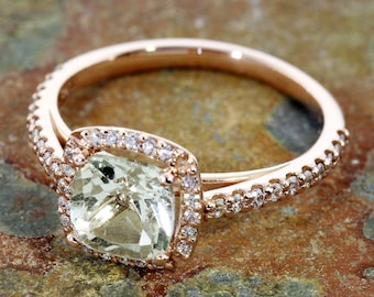 """The """"Leek Green Amethyst Ring"""" in Rose Gold and Diamonds.  READY TO SHIP, size 7"""