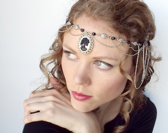 REDUCED PRICE Skeleton Gothic Head Piece in Silver and Black