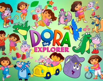 77 Dora The Explorer ClipArt Digital PNG image drawing illustration birthday party handicraft scrapbooking printable Clipart transfer