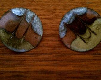 Vintage 60s-70s Enamel on Copper Earrings Pierced - Metallic Earthtones