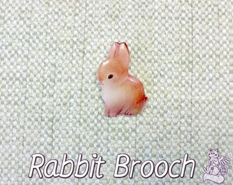 Cute Rabbit Brooch  - Lovely bunny pin made of epoxy resin  - Rabbit brooch with metal clasp on the back