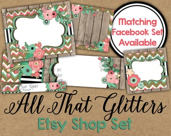Glitter Etsy Cover Banner Set - Spring Floral Etsy Cover Image - Floral Glitter Banner - Gold Glitter Etsy Cover - Flower Etsy Shop Icon